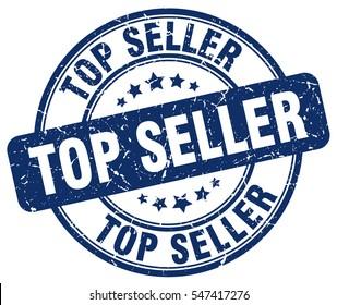 top seller. stamp. blue round grunge vintage top seller sign