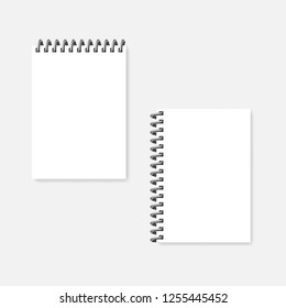 Top and side spiral blank notebook, realistic vector mock-up. Wire coil bound empty note memo pads template. White A5 diaries mockup.