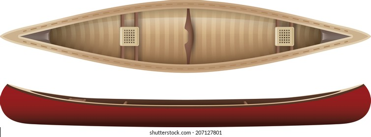 Top and side view of a canoe.