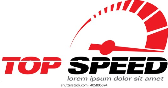 Top Speed, vector logo racing event, with the main elements of the modification speedometer.