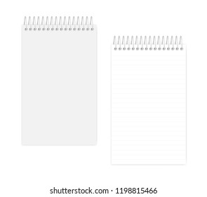 Top spiral lined notebook: page and cover, realistic vector mockup. Wire bound junior legal size notepad, mock up. Loose leaf note book isolated on white background, template
