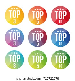 Top Ten, Five, Three button