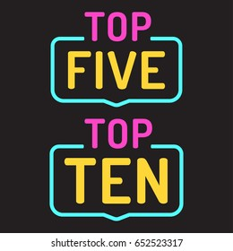Top ten, five. Two badge icons, signs. Flat vector illustration on black background.