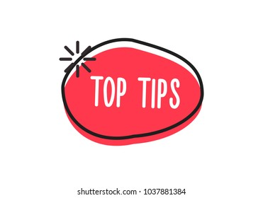 Top tips word on a doodle badge. Vector icon concept