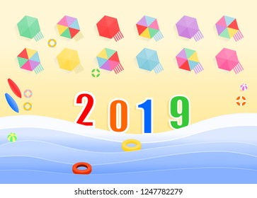 Top view of the 2019 numbers in the beach with swimmers equipment and sunshades for tourists, illustration vector design for holiday and new year.