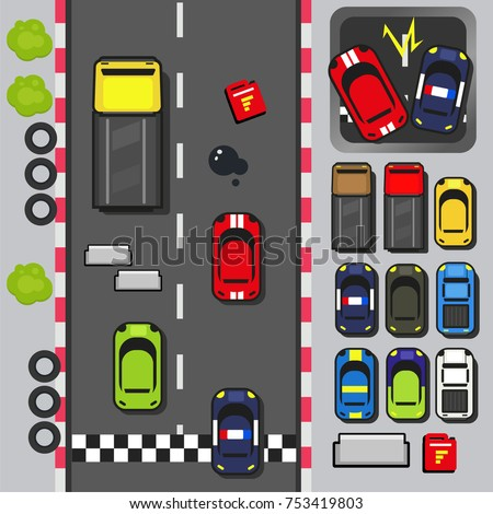 Top View D Game Asset Set Stock Vector Royalty Free - 2d game design