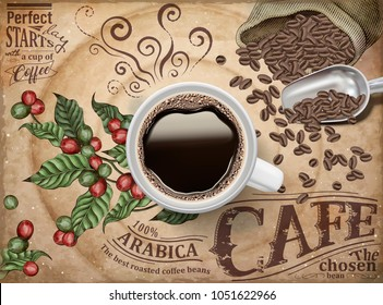 Top view of 3d illustration black coffee on retro engraving cherries and beans background