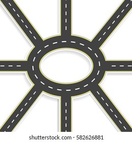 Top view of 3D perspective. Road interchange of eight roads and roundabouts. Vector illustration