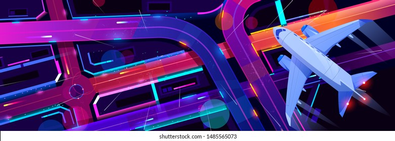 Top view of airplane flying above night city transport interchange. Plane journey over modern megapolis with neon glowing skyscrapers, moving cars, old film noise effect. Cartoon vector illustration