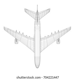 Top view of airplane in wire-frame style. EPS 10 vector format. Vector rendering of 3d
