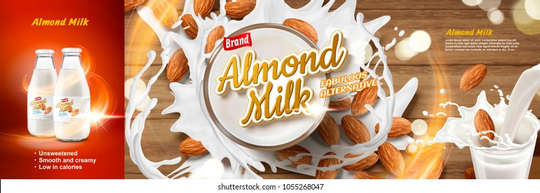 Almond milk ads, delicious alternative beverage with splashing milk and almonds in 3d illustration, top view of glass of almond milk