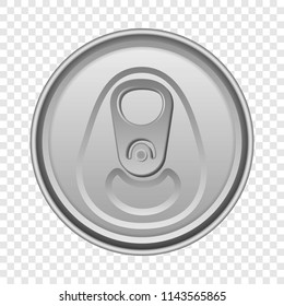 Top view aluminum can mockup. Realistic illustration of top view aluminum can vector mockup for on transparent background