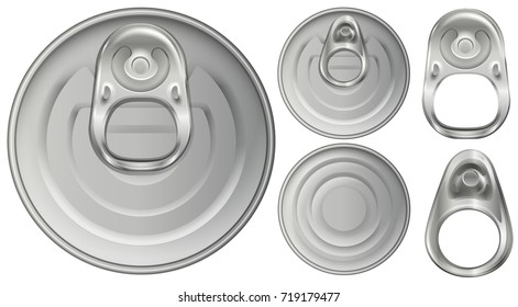 Top view of aluminum cans and openers illustration