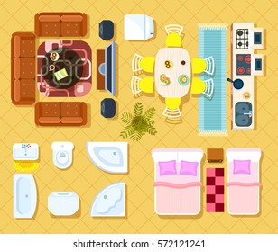 Top View Apartment Interior Set Isolated Vector Illustration. Living Room,  Bedroom, Kitchen And