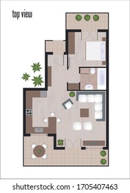 Top view architectural floor plan vector, One bedroom apartment,top view drawing of modern house illustration.