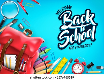 Top View Back In Blue Background Banner with Red Backpack and Educational Supplies Like Notebook, Pen, Pencil, Colors, Ruler, Magnifying Glass, Eraser, Paper Clip, Sharpener, Alarm Clock and Pain