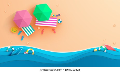 top view beach background with umbrellas,balls,swim ring,sunglasses,surfboard, hat,sandals,juice,starfish and sea.