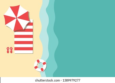 Top view beach shoreline with flat design water and holiday equipment.