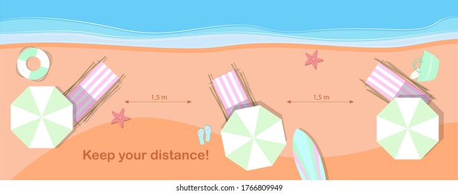 Top view of the beach with sun loungers at a distance to observe the quarantine distance on a pandemic. Flat vector illustration of a sandy beach and sea for recreation and vacation with an ad to