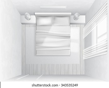 Top view bedroom. Bedroom with bed illuminated by light from a window.