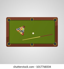 Top view of billiard table. Billiard balls and cue. Billiard game sport.