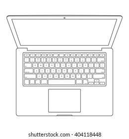 Top View Of Blank Laptop Computer With Keyboard Template