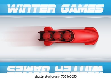 Top View of Bobsleigh Track with red bobsled and athletes. Vector Illustration Background