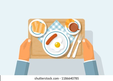 Top view of breakfast on wooden tray. Appetizing delicious breakfast coffee, fried egg with sausage, croissant and slices toasted bread. Vector illustration flat design. Isolated on white background.