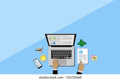 Top view of the business desk with hands of a man is  working on laptop and mobile phone, pencil,office supplies,tablet,tree in pot and lemon tea on the working desk with copy space for your text