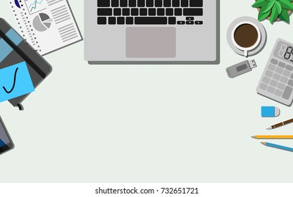 Top view of the business desk with laptop, paper work, mobile phone, calculator and other office supplies with coffee for the breakfast with copy space for your text