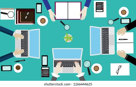Top view business meeting concept vector.Business man hand and woman working.top view workspace concept