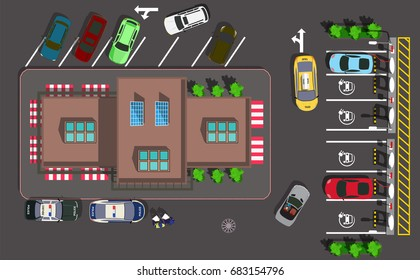 Top view cafe in the city with parking for electric car