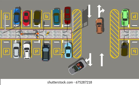 Top view car city Parking