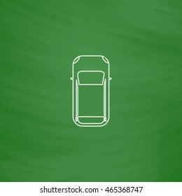 top view car Outline vector icon. Imitation draw with white chalk on green chalkboard. Flat Pictogram and School board background. Illustration symbol