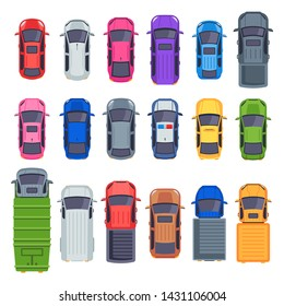 Top view cars. Auto transport, truck and car roof. City traffic automobile, jeep cars, truck or street taxi vehicle. Vector flat isolated icons illustration set