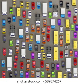 Top view of cars of different colours and shapes on grey background. Vector illustration