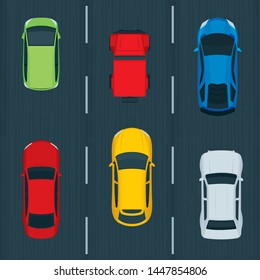 Top view cars on road.  Traffic vector concept. Different cars top view flat style vector illustrations set.