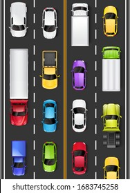 Top view of cars and trucks on the road. Driving on the highway. Vector illustration