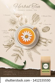 Top view of chamomile tea in 3d illustration with engraved herbs background