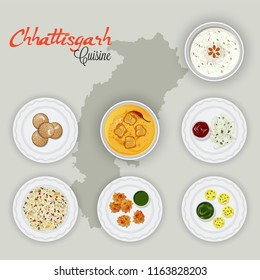 Top view of Chhattisgarh cuisines on state map background.