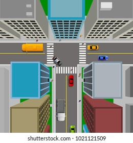 Top view of city landscape with cars and citizens, vector illustration