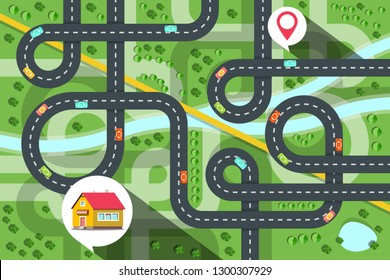 Top View City Map with Cars on Road, River and Trees. House Icon with Destination Pin Vector Illustration. Green Town and Ecology Concept.