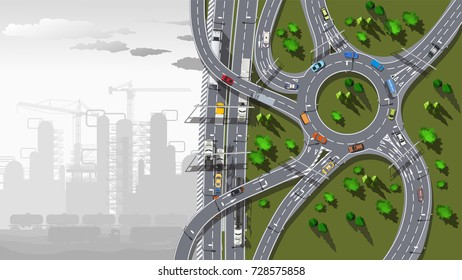 Top view city map with road and grey plant in fog
