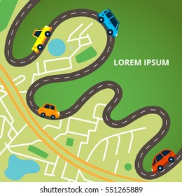 Top view city map with winding road and many colorful cars. Traffic jam. Vector illustration for web banners and info graphic.