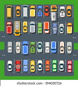 Top view of a city parking lot with a set of different cars. Public car-park. Conceptual illustration of a automobile collection in the flat plain style.