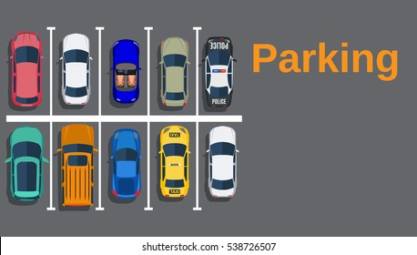 Top view of a city parking lot with a set of different cars. Shortage parking spaces. Parking zone. vector illustration in flat design, web banner.