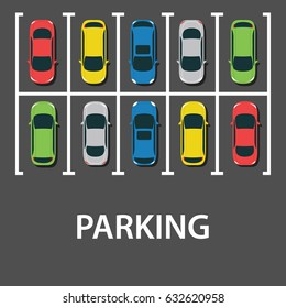 Top view of a city parking lot with a set of different cars. Shortage parking spaces. Parking zone. vector illustration in flat design, web banner