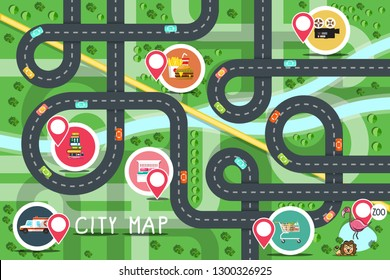 Top View City Road Map with Destination Points - Hospital, Zoo, Supermarket, Fastfood, Bookstore, Hotel and Cinema. Vector Flat Design Aerial View Town.