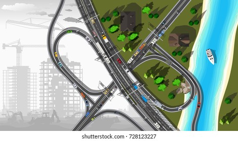 Top view city road and under construction info graphics