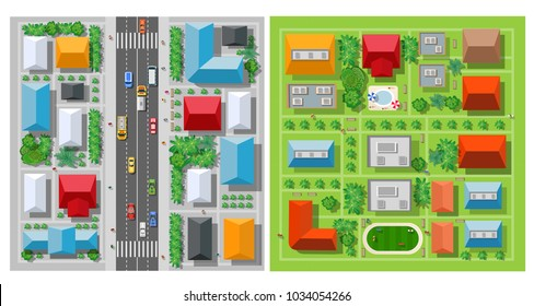 Top view of the city roof of the house and street urban landscape view town infrastructure